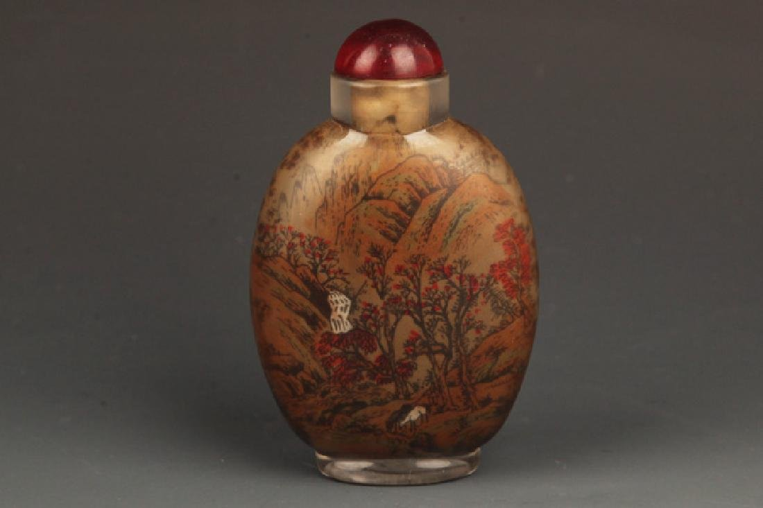 A FINELY PAINTED GLASS SNUFF BOTTLE