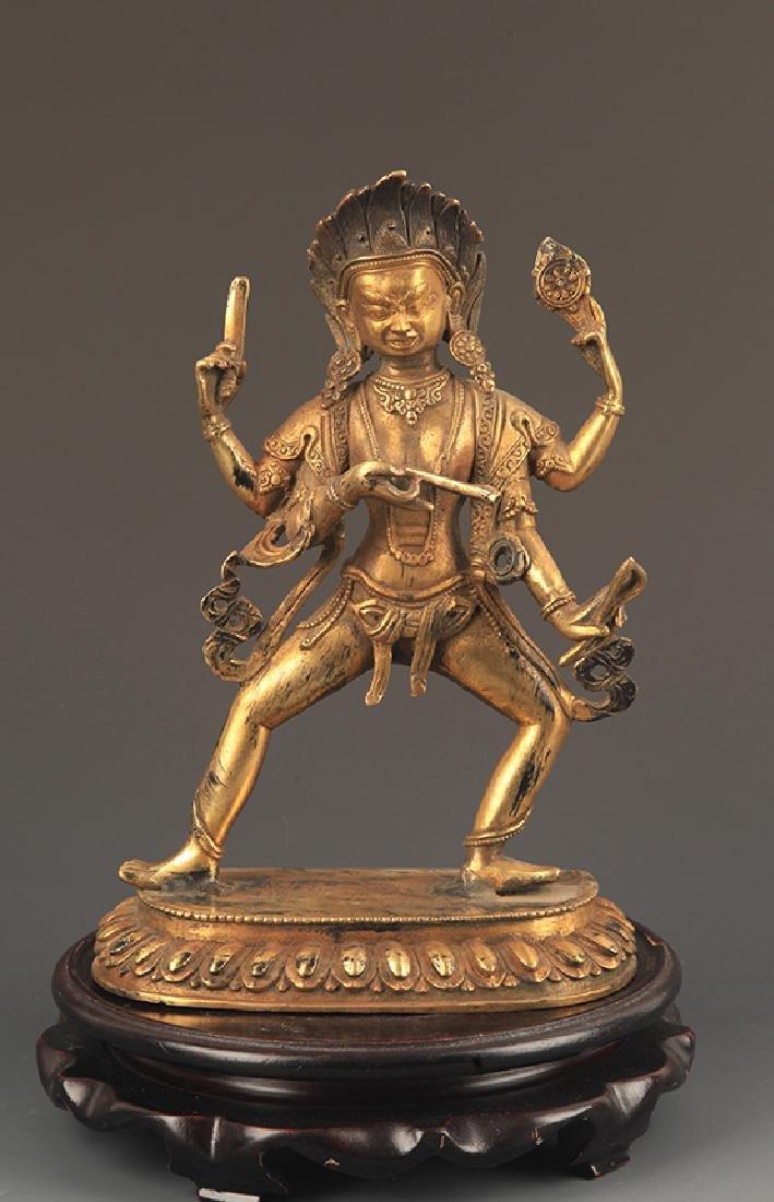 A FINE BRONZE TIBETAN GURU BUDDHA