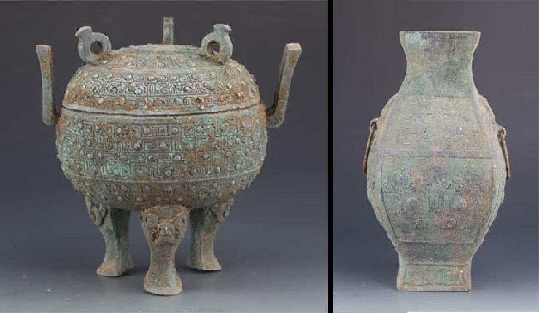 COPY OF TWO OLD CHINESE BRONZE VASE