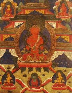 A FINELY PAINTED THANGKA ON SHEEPSKIN
