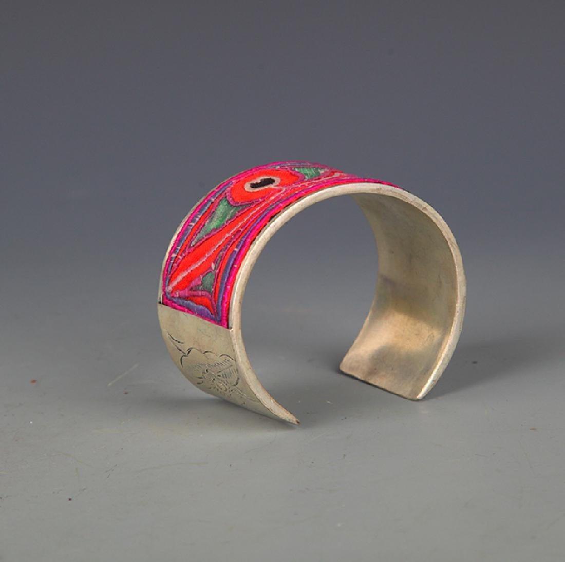 OLD EMBROIDERED AND SILVER PLATED BANGLE