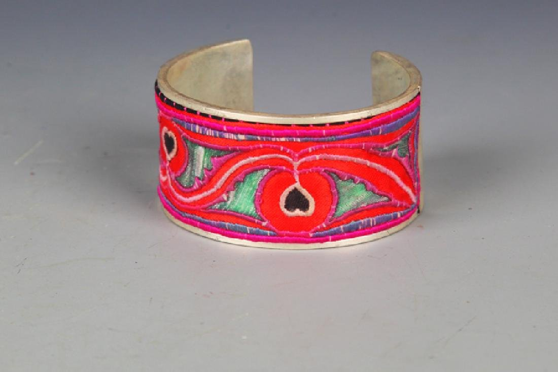 OLD EMBROIDERED AND SILVER PLATED BANGLE - 2