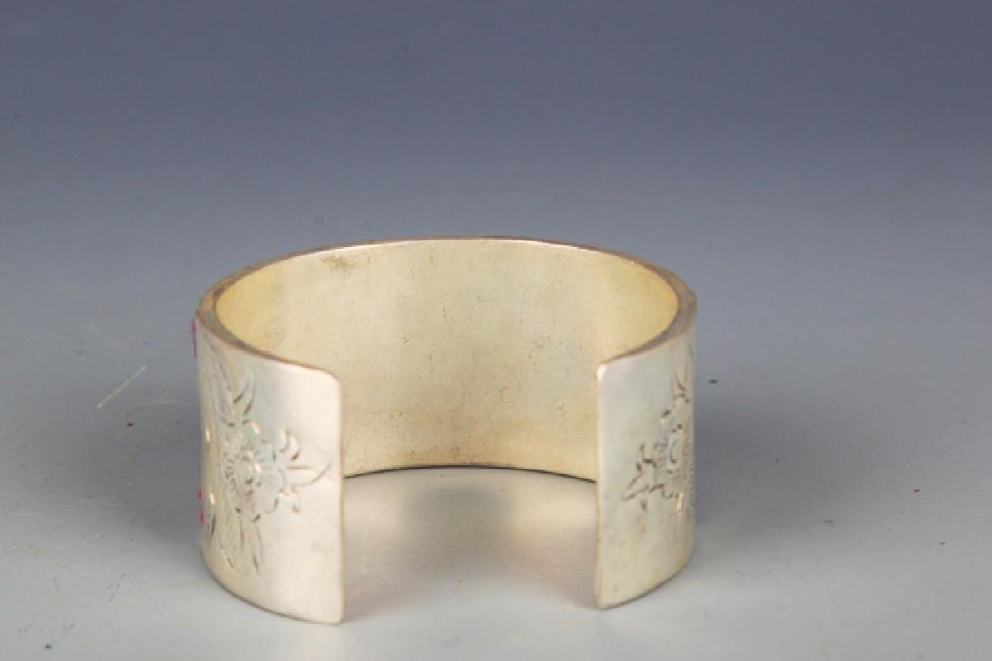 OLD EMBROIDERED AND SILVER PLATED BANGLE - 3