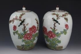 TWO FINELY PAINTED PORCELAIN JAR WITH COVER