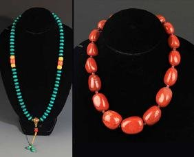 TWO CHINESE NECKLACE, TURQUOISE AND AGATE