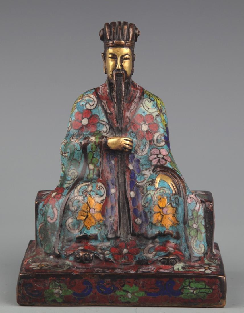 A BRONZE ENAMEL MODEL IN FIGURE OF TAOIST PRIEST