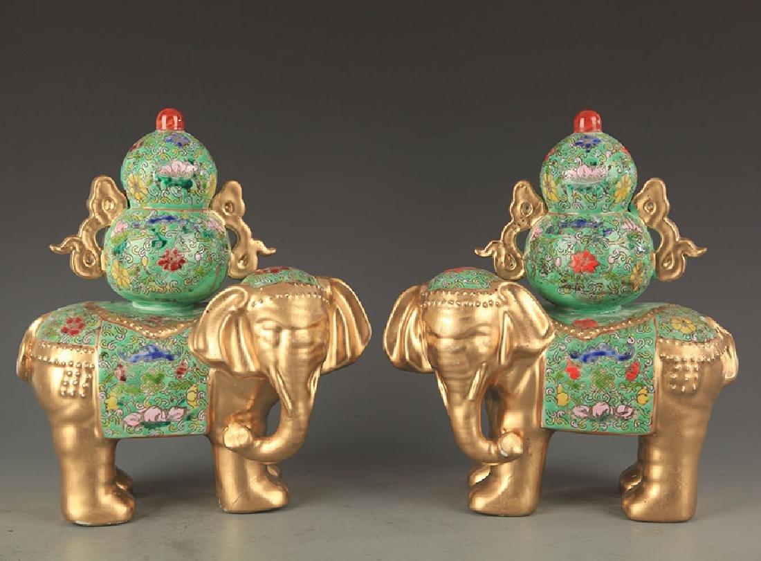 PAIR OF ENAMEL COLOR GILT ELEPHANT FIGURE