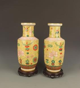 PAIR OF YELLOW COLOR GLAZED PORCELAIN JAR