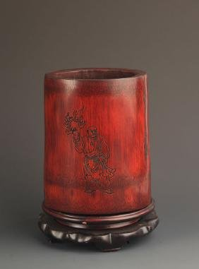 A FINE DHARMA CARVING BAMBOO BRUSH POT
