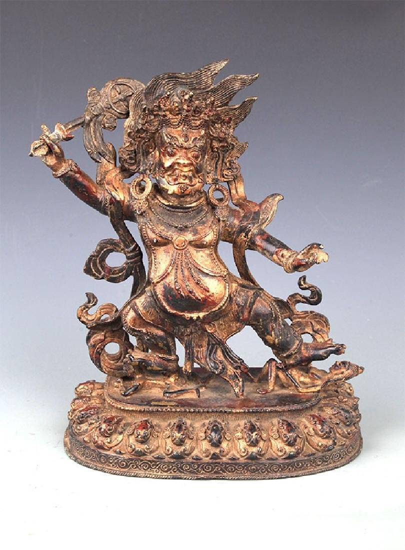 A LARGE AND FINELY CARVED BRONZE BUDDHA