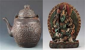 A FINE TIBETAN BUDDHA AND CAST IRON TEA POT