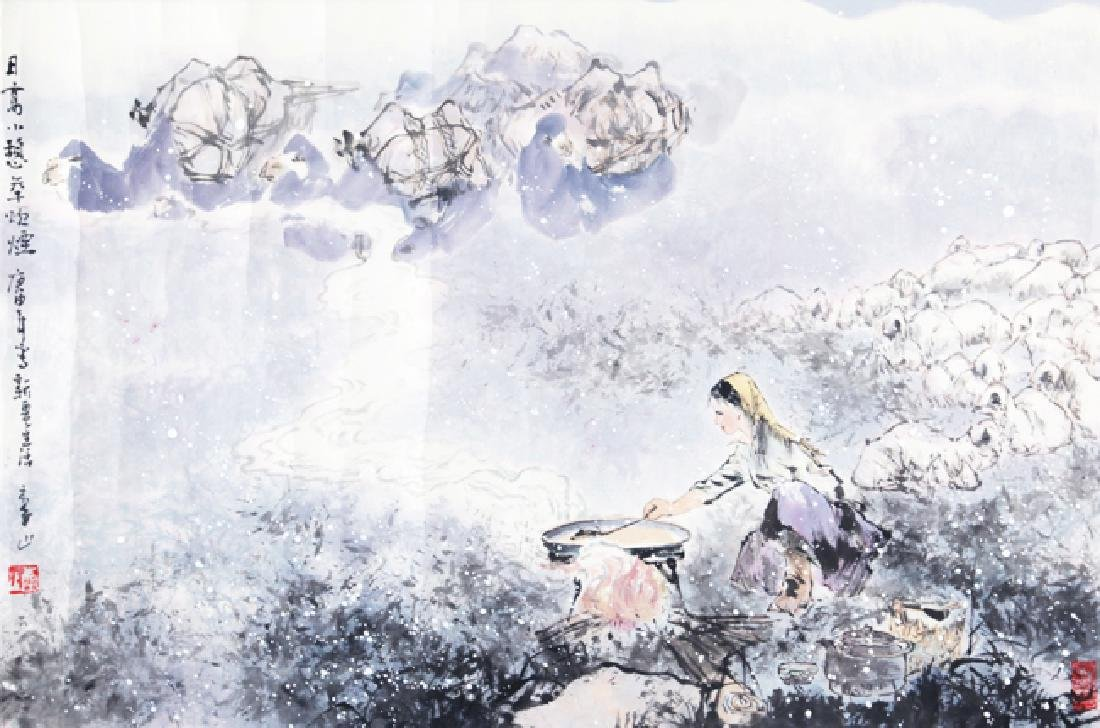 A FINE OIL PAINTING ATTRIBUTED TO, LI SHAN