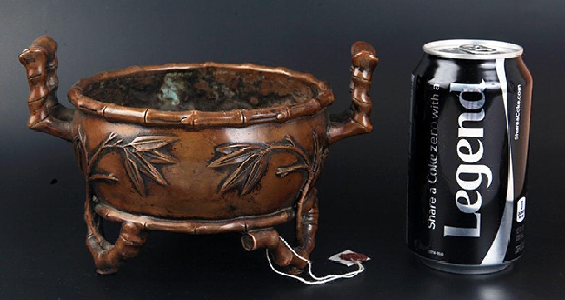 A BAMBOO CARVING BRONZE CENSER