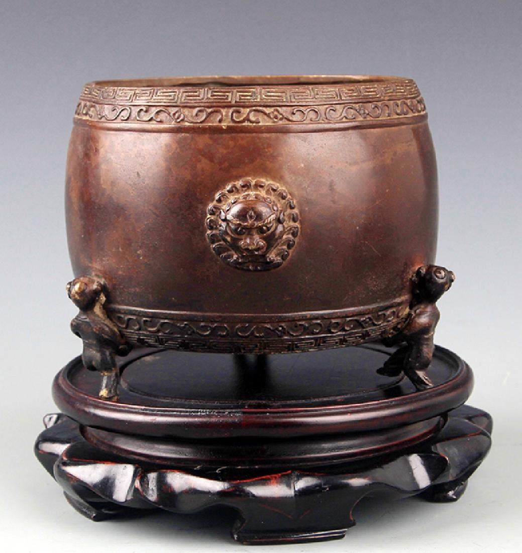 "A ""YIN ZHU JU ZHI"" MARK DRUM SHAPED BRONZE CENSER"