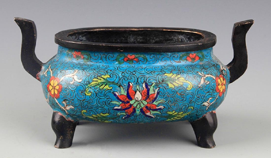 A CLOISONNÉ COLOR BRONZE CENSER