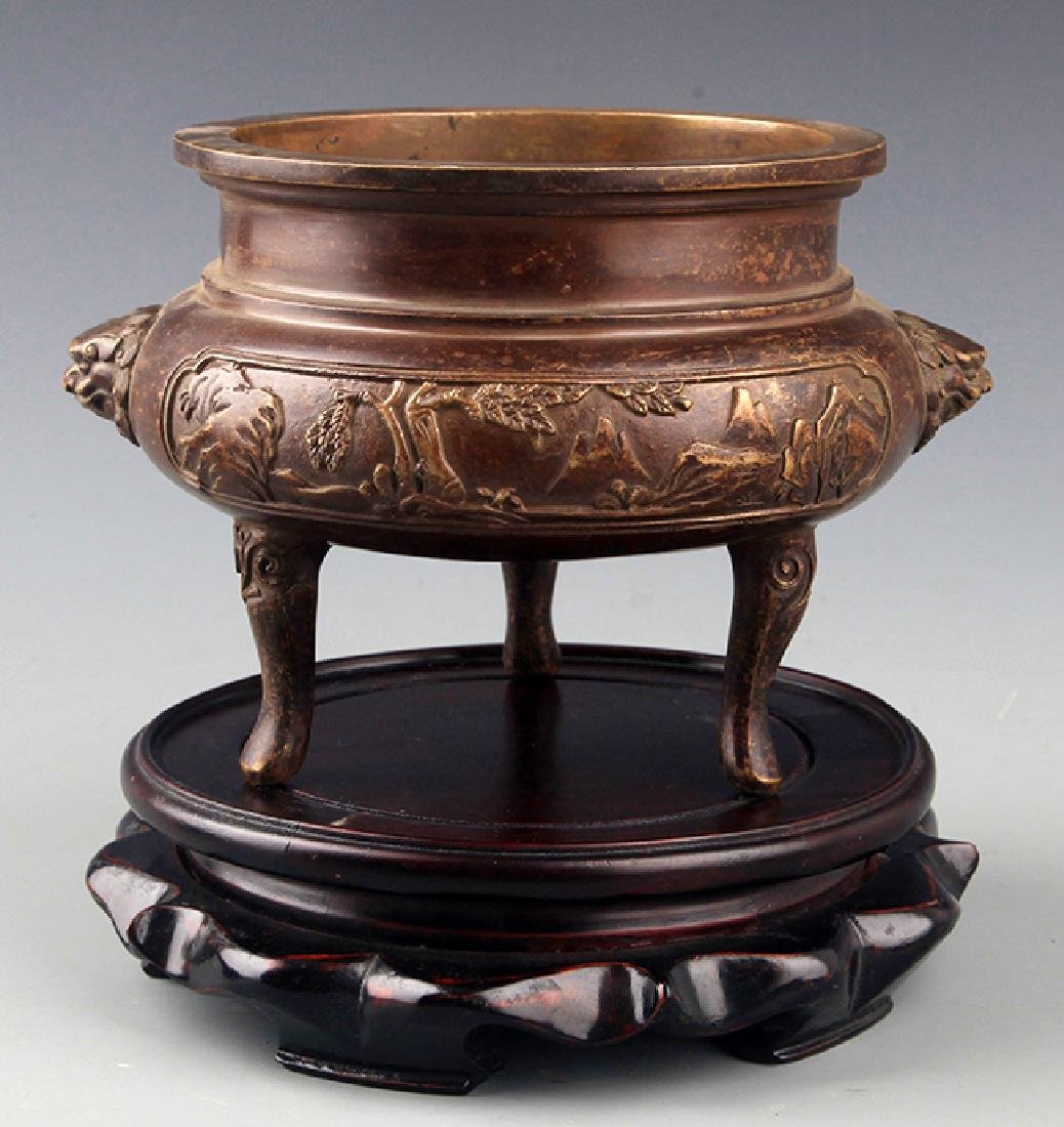 A FINELY CARVED TALL BRONZE CENSER