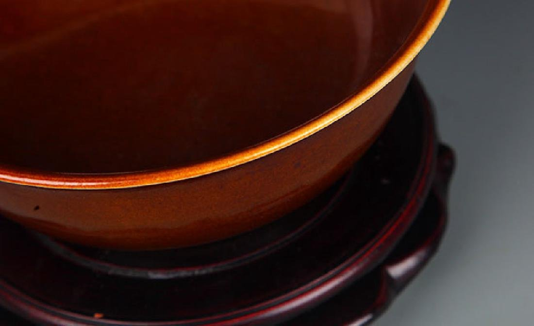 A BEAN SAUCE COLOURED GLAZE BOWL - 2