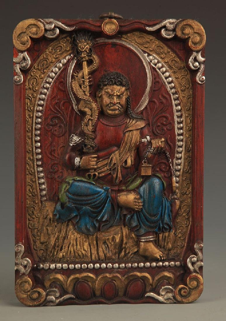 A FINE Camphor wood CARVING FUDO WALL PANEL