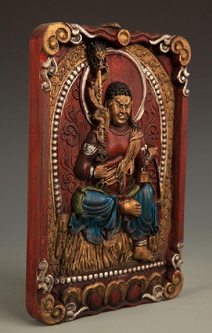 A FINE Camphor wood CARVING FUDO WALL PANEL - 3