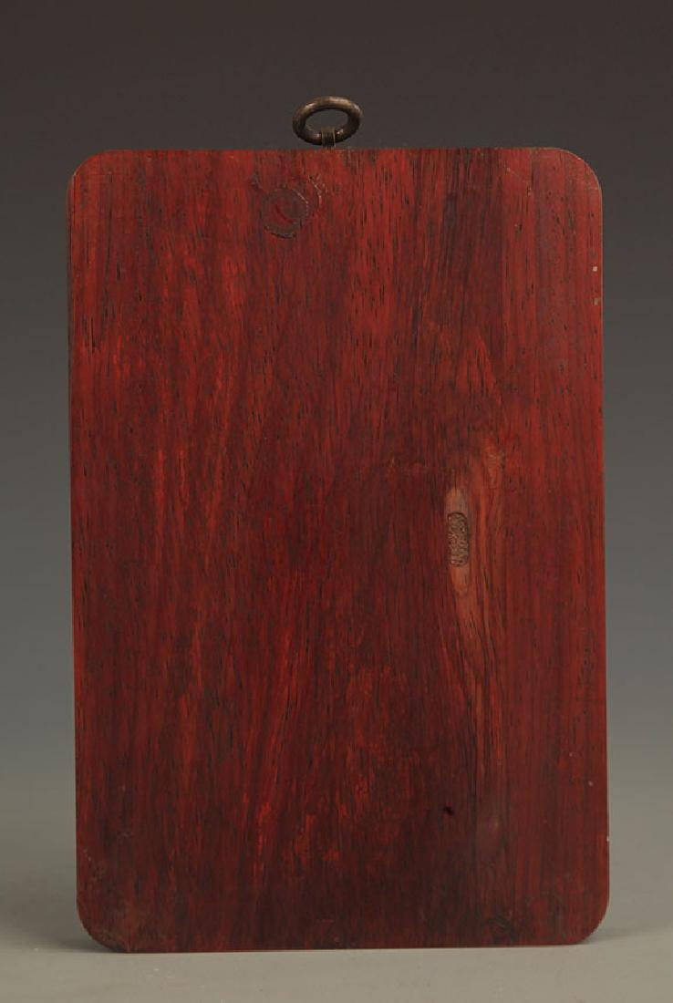 A FINE Camphor wood CARVING FUDO WALL PANEL - 4