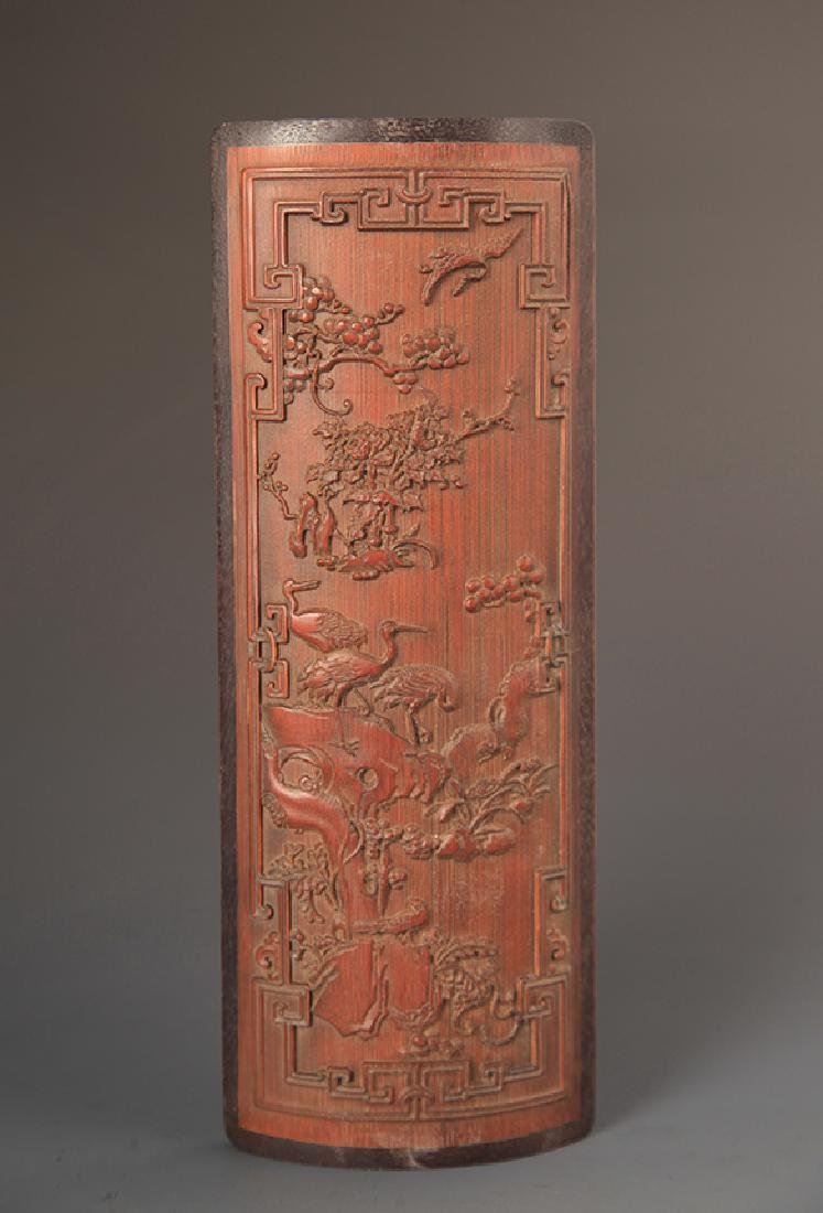 PAIR OF FINELY CARVED BAMBOO ARM REST - 2