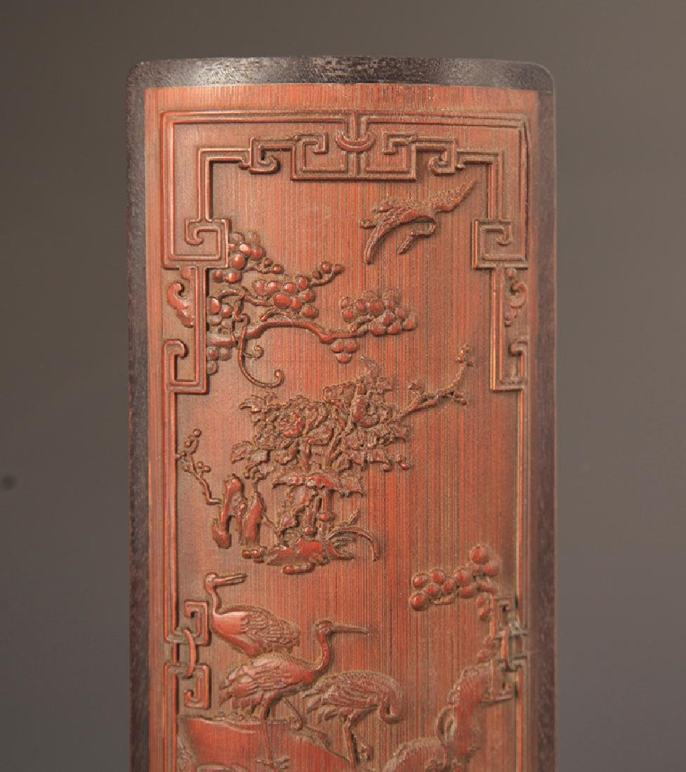 PAIR OF FINELY CARVED BAMBOO ARM REST - 3