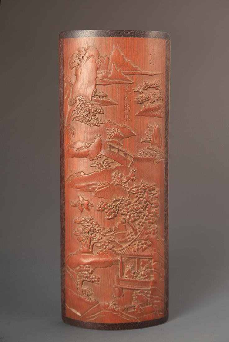 PAIR OF FINELY CARVED BAMBOO ARM REST - 6