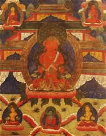 A FINE TIBETAN BUDDHA THANGKA ON SHEEPSKIN