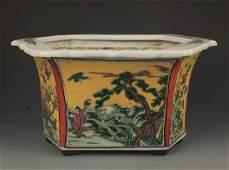 A Yellow Glaze Famille Verte Flower Pot