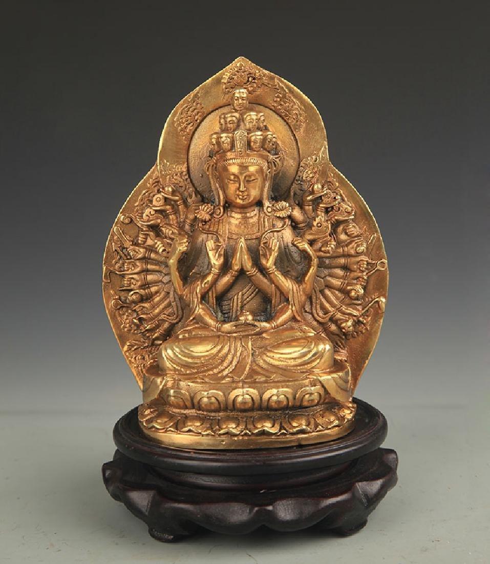 A Tibetan Buddhism Bronze Thousand Hand Guan Yin