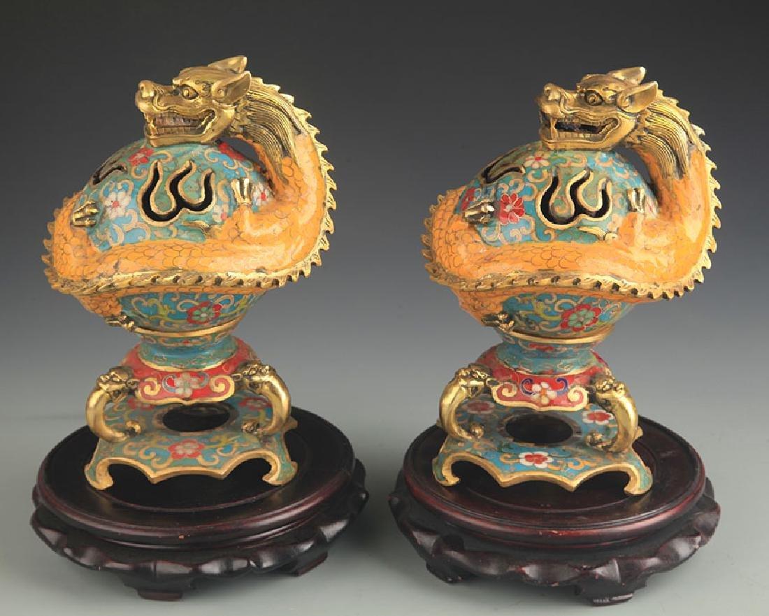 Pair of Cloisonne Enamel Dragon Style Aromatherapy