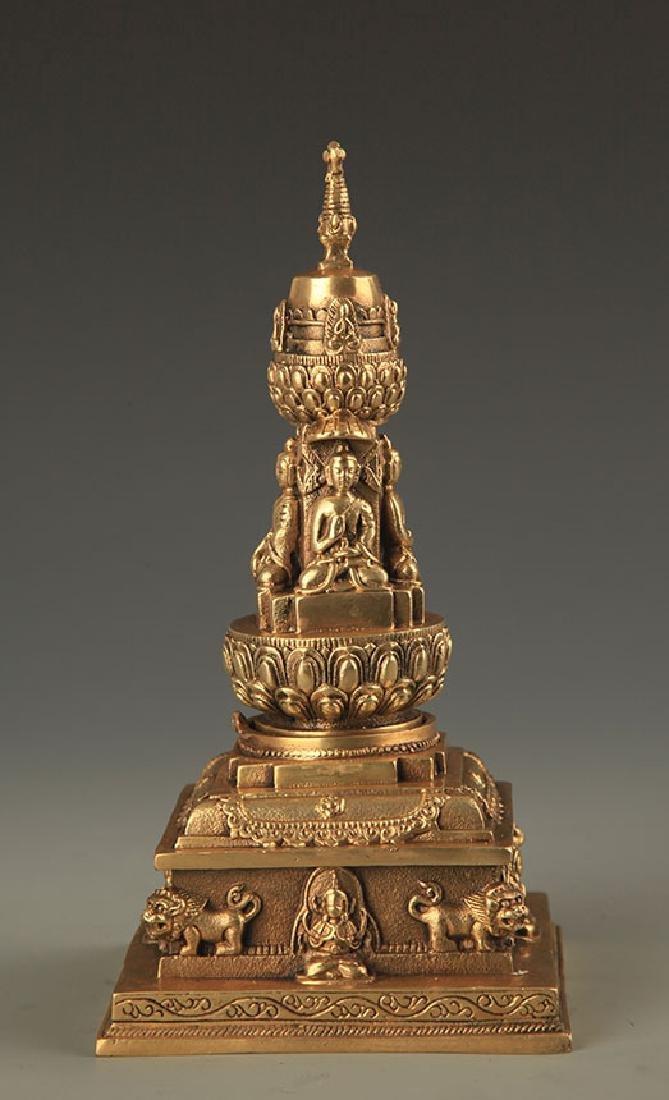 A TIBETAN BUDDHISM BRONZE STUPA