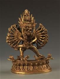Tibetan Buddhism Bronze Yamantaka Statue