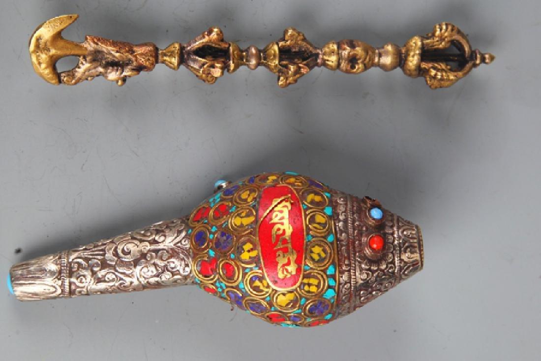 Set of Tibetan Buddhism Phurba and Conch