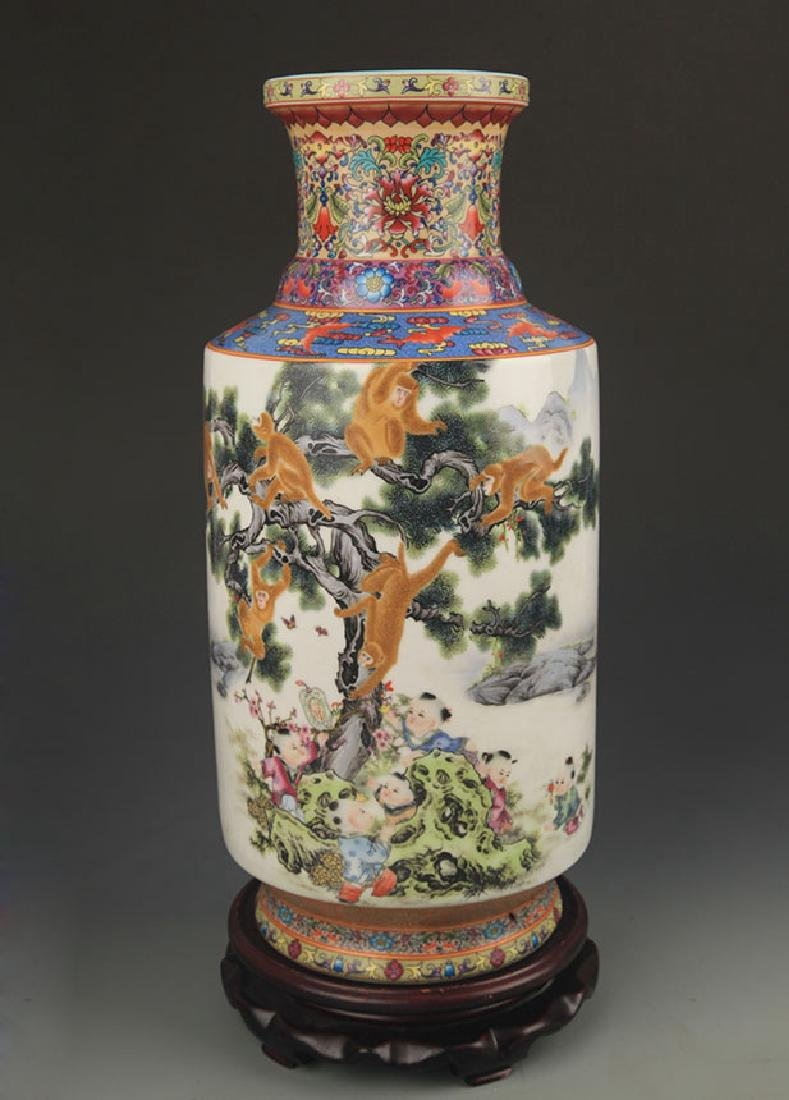 A Famille Rose Monkey Painted Porcelain Vase