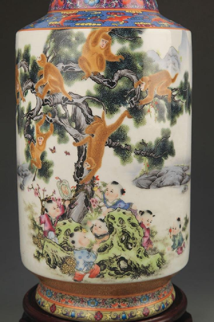 A Famille Rose Monkey Painted Porcelain Vase - 3