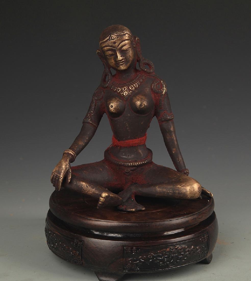 A Tibetan Buddhism Bronze Indra Statue