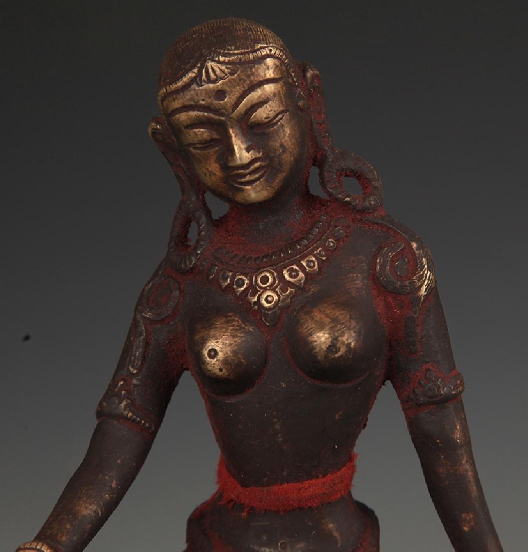 A Tibetan Buddhism Bronze Indra Statue - 2
