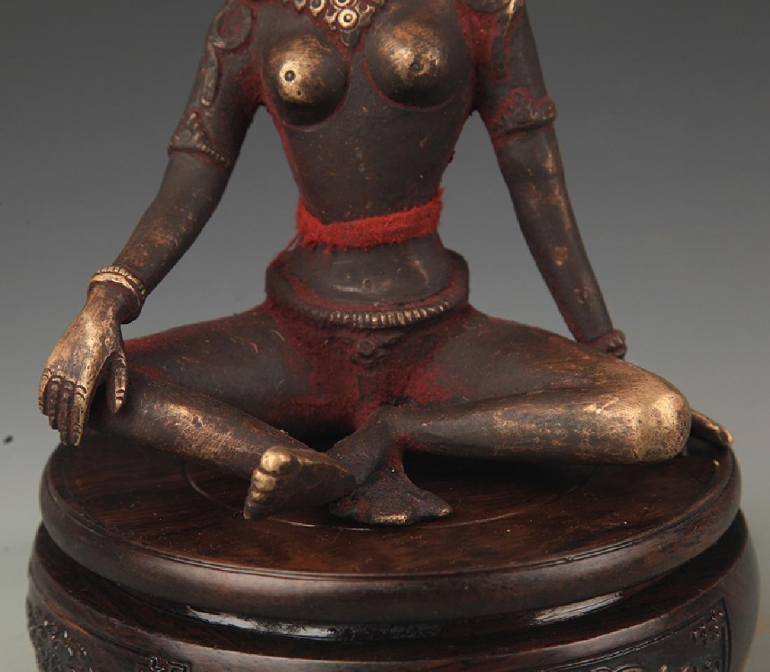 A Tibetan Buddhism Bronze Indra Statue - 3