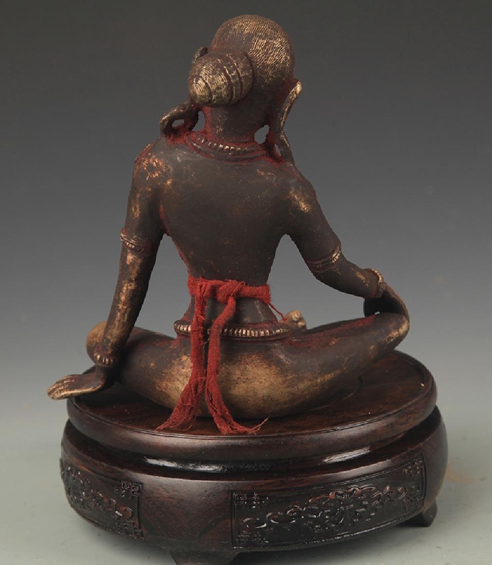 A Tibetan Buddhism Bronze Indra Statue - 4