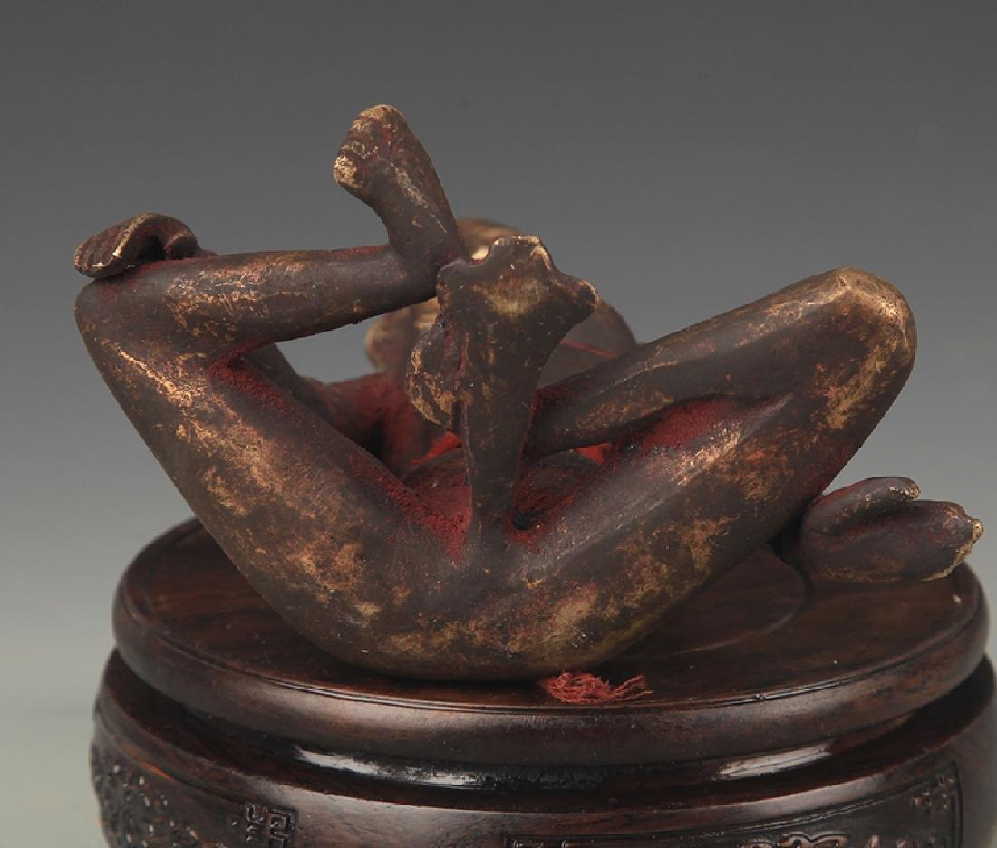 A Tibetan Buddhism Bronze Indra Statue - 5