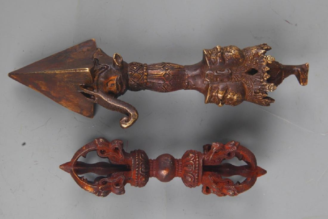 A Pair of Tibetan Religious Bronze Vajra