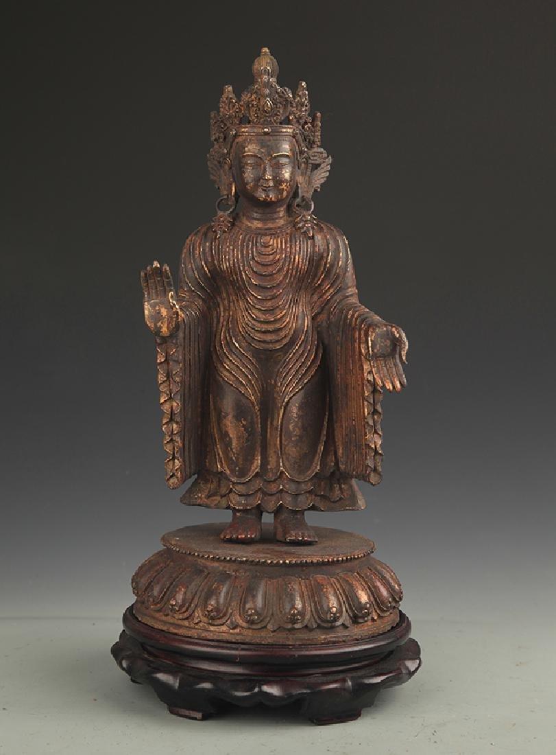 A Bronze Zhan Tan Buddha Statue
