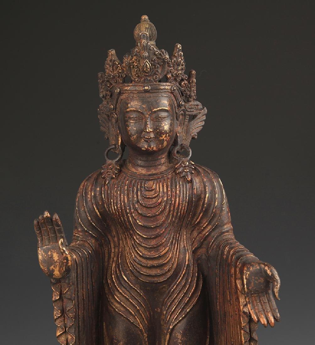 A Bronze Zhan Tan Buddha Statue - 2