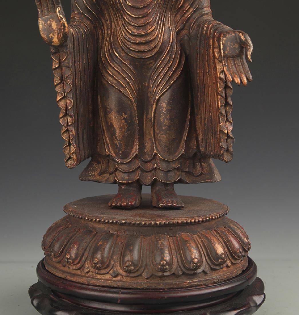 A Bronze Zhan Tan Buddha Statue - 3