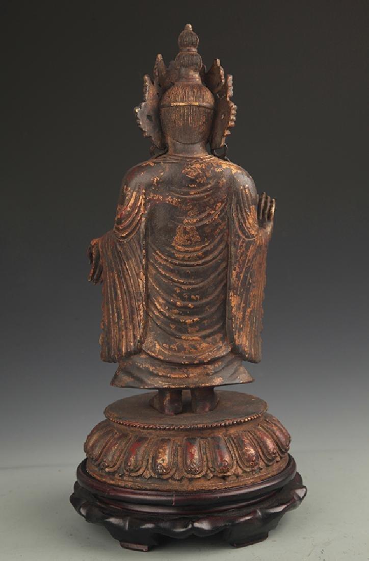A Bronze Zhan Tan Buddha Statue - 4
