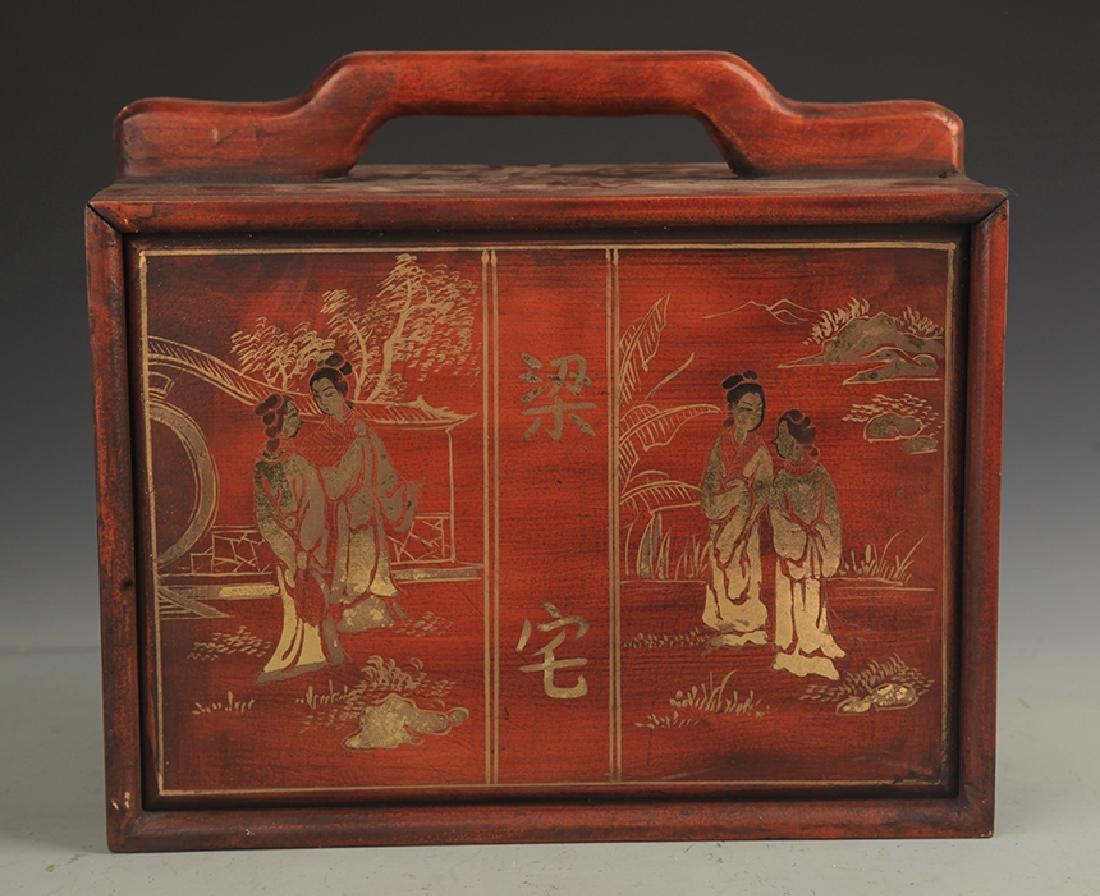 A Gilt Lacquer Character Painted Wooden Box