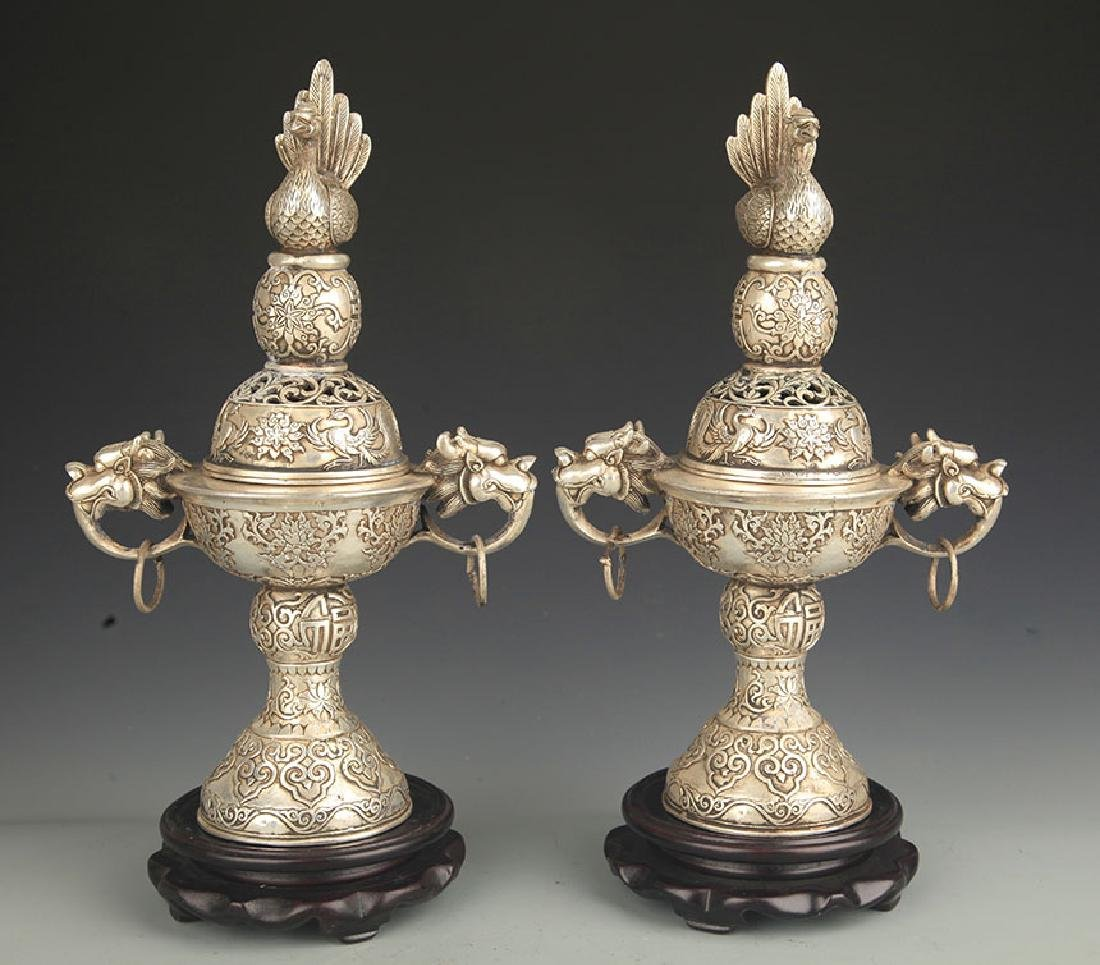 Pair of Bronze Phoenix Carving Aromatherapy Burner