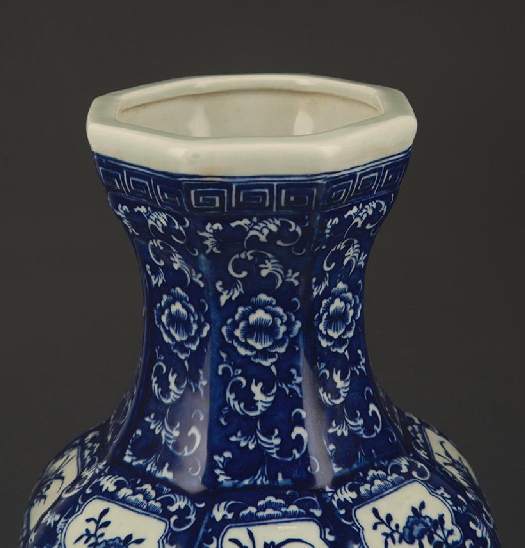 A Blue and White Flower Painted Eight Sided Vase - 2