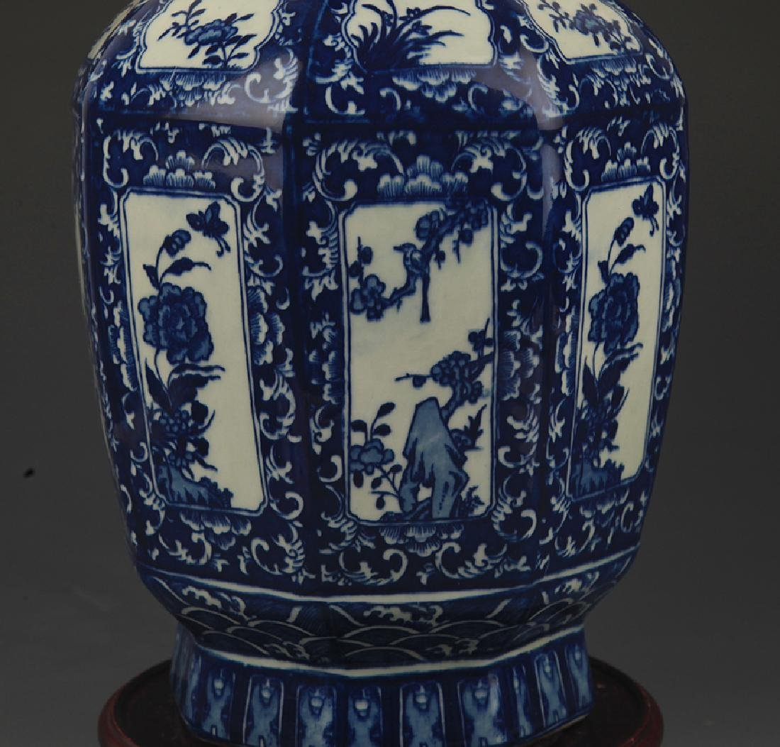 A Blue and White Flower Painted Eight Sided Vase - 3